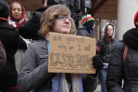 Ferguson protestor, photo by Velo_City