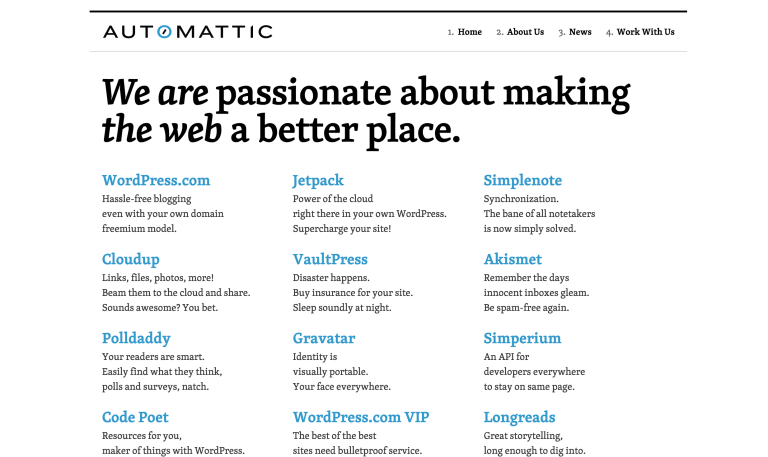 Automattic homepage