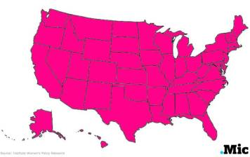 Pink represents which states women are more likely to be in poverty.