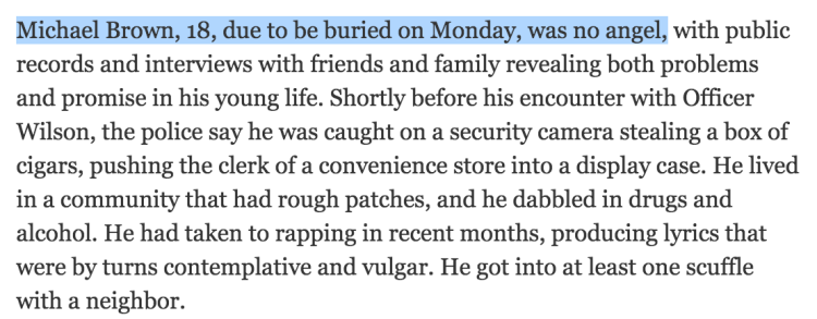 Double Standard, NYT reports on Michael Brown