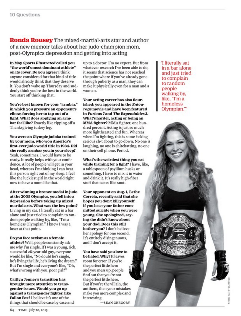 Ronda Rousey in Time Magazine (July 2015)