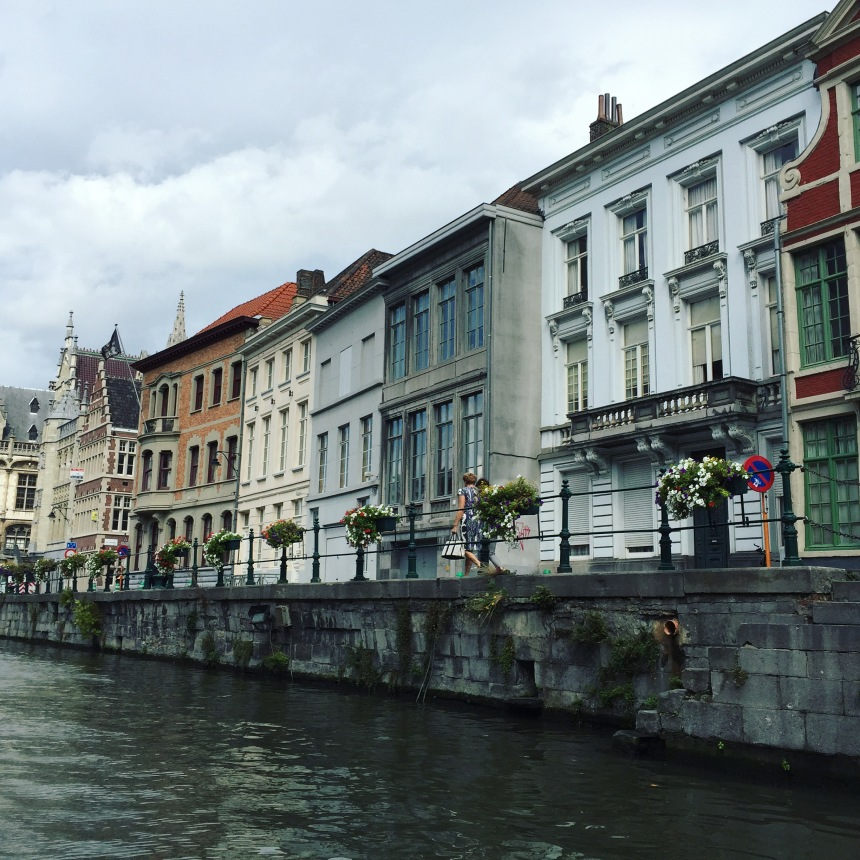 View of Street from a Boat in Ghent, Belgium