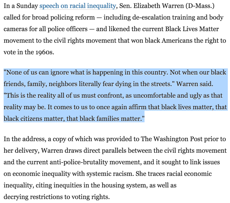 "From ""Elizabeth Warren just gave the speech that Black Lives Matter activists have been waiting for"" in The Washington Post"