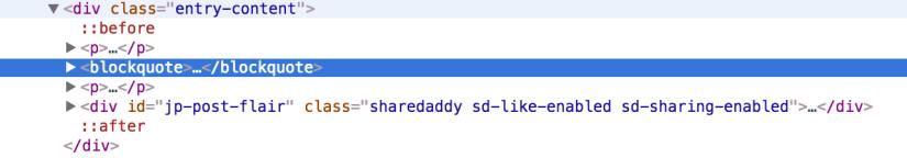 Chrome DevTools inspecting my blockquote