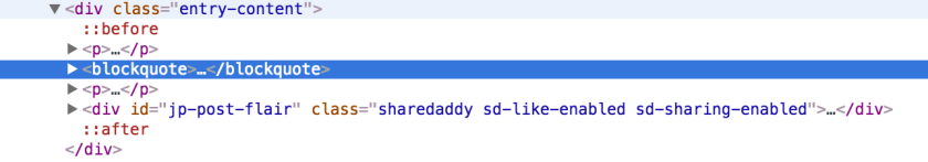 Chrome DevTools inspecting my blockquote