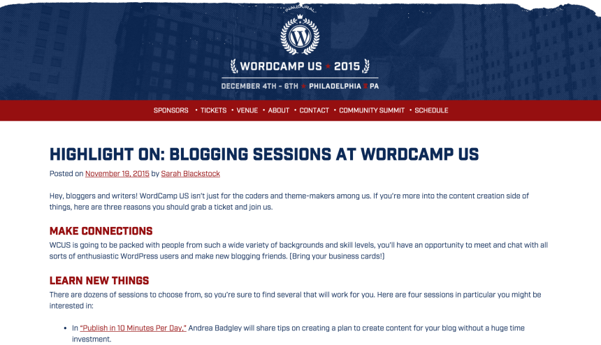 Screenshot of Highlight on: Blogging Sessions at WordCamp US on WCUS website