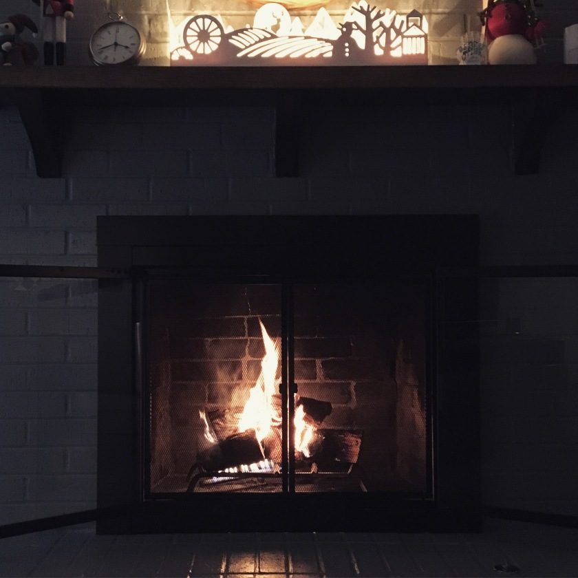 First fire of the winter in our newly painted fireplace