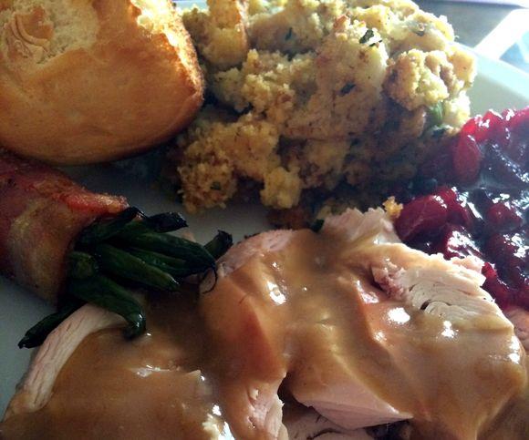 My Thanksgiving Dinner, featuring homemade cranberry sauce
