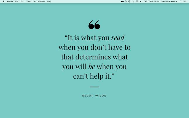Screenshot of Read/Be Oscar Wilde Quote Desktop Wallpaper in Use