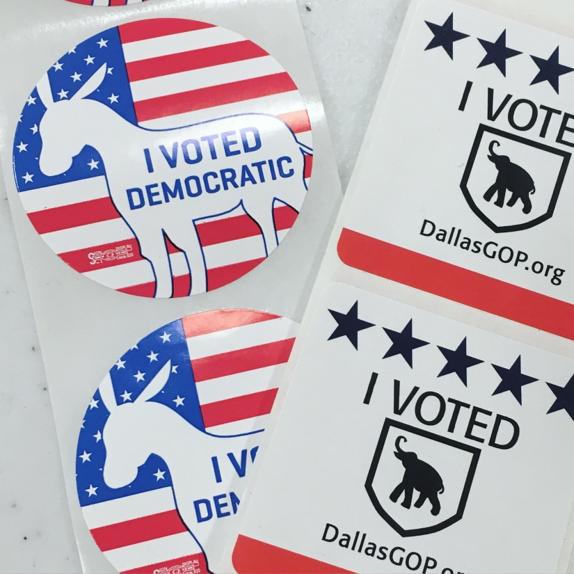 Dallas Presidential Primary voting stickers 2016