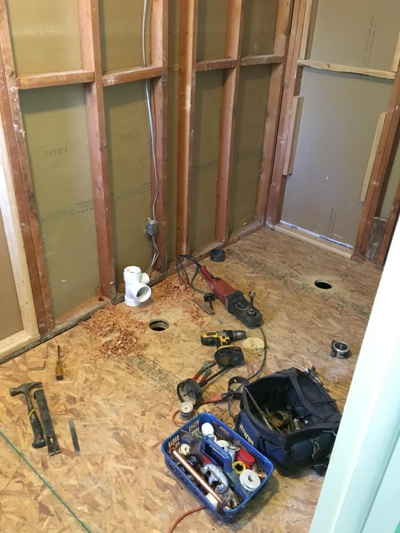 bathroom plumbing progress